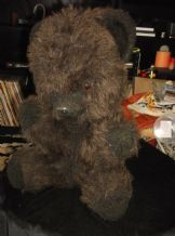 "RARE UNUSUAL DARK BROWN FAUX FUR TEDDY BEAR NYLENA SITTING UP POSITION 14"" HIGH"
